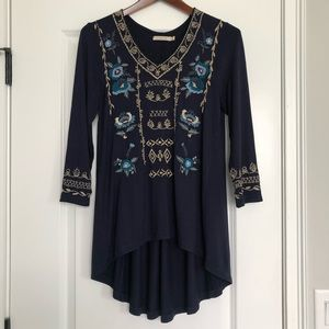 Anthropologie Caite Navy Embroidered Tunic Top